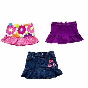 Lot of Baby Girl Skorts & Denim Skirt 18-24 mos